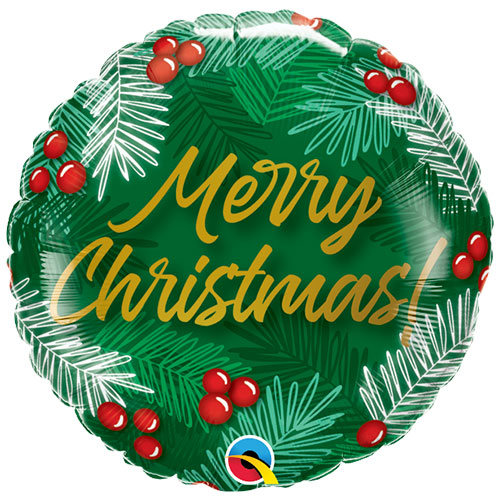 Christmas Green & Berries Round Foil Helium Qualatex Balloon 46cm / 18 in Product Image
