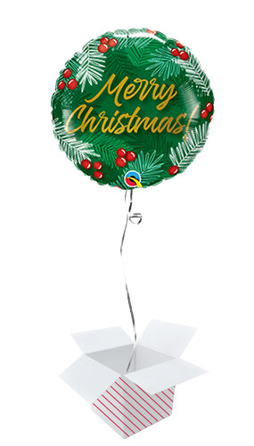 Christmas Green & Berries Round Foil Helium Qualatex Balloon - Inflated Balloon in a Box Product Image
