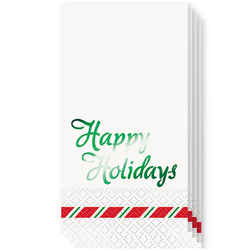 Christmas Green Foil Happy Holidays Guest Napkins 39cm x 33cm 3Ply - Pack of 16 Product Image