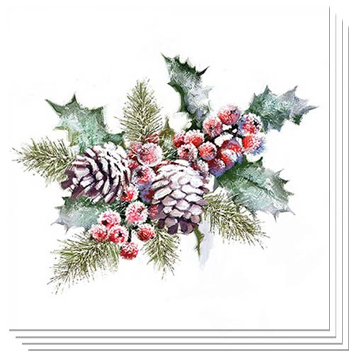Christmas Holly And Berries Luncheon Napkins 3Ply 33cm - Pack of 50