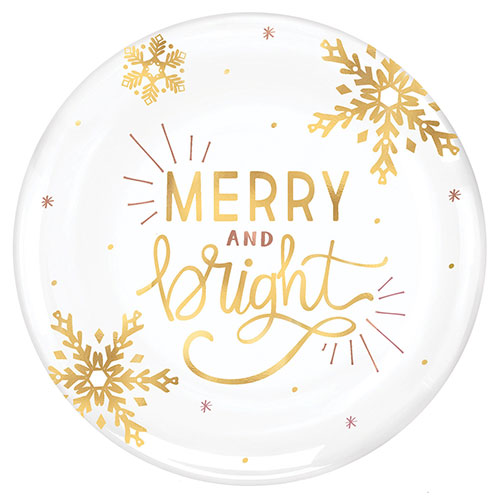 Christmas Merry And Bright Plastic Hot Stamped White Round Platter 35cm Product Image