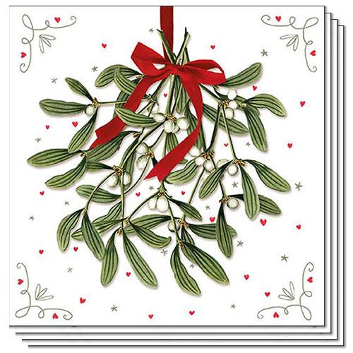 Christmas Mistletoe Premium Luncheon Napkins 3Ply 33cm - Pack of 50
