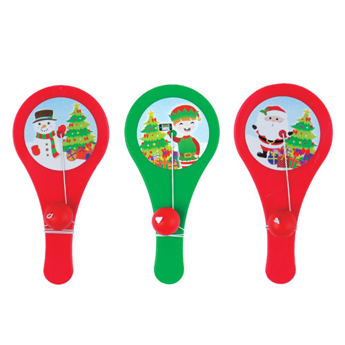 Assorted Christmas Paddle Bat and Ball Game 11cm Product Image