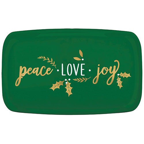 Christmas Peace Love Joy Plastic Hot Stamped Green Rectangular Platter 46cm Product Image