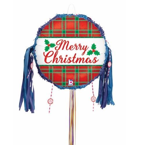 Christmas Plaid Holographic Pull String Pinata