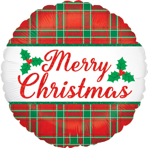 Christmas Plaid Holographic Round Foil Helium Balloon 46cm / 18Inch Product Image