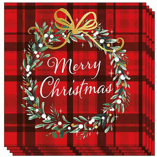 Christmas Plaid Luncheon Napkins 3Ply 33cm - Pack of 50 Product Image