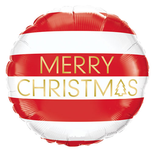 Christmas Red & White Stripes Round Foil Helium Balloon 46cm / 18 in Product Image