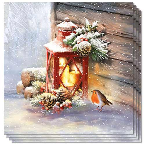 Christmas Robin By Lantern Luncheon Napkins 3Ply 33cm - Pack of 50 Product Image