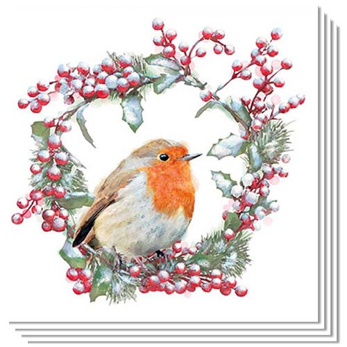 Christmas Robin In Wreath Luncheon Napkins 3Ply 33cm - Pack of 50 Product Image