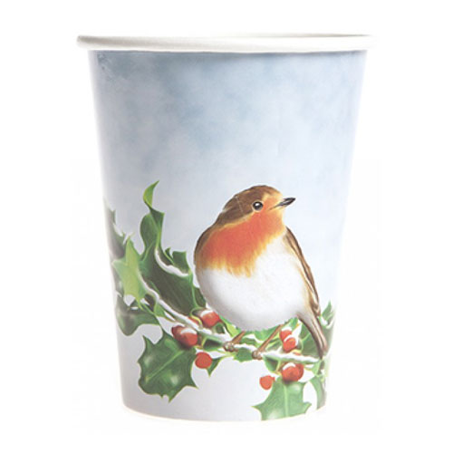Christmas Robin Paper Cups 250ml - Pack of 12