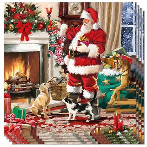 Christmas Santa Interior Luncheon Napkins 3Ply 33cm - Pack of 50 Product Image