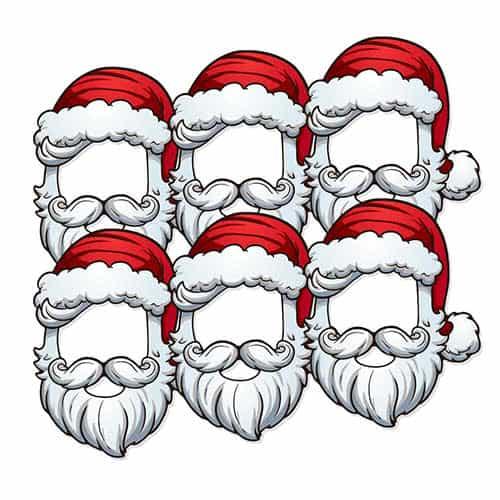 Christmas Santa Open Cardboard Face Masks - Pack of 6
