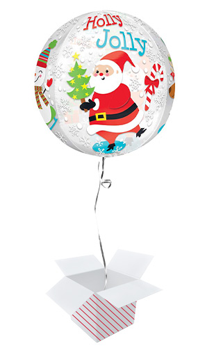 Christmas Scene Orbz Foil Helium Balloon - Inflated Balloon in a Box Product Gallery Image