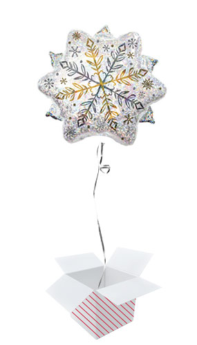 Shining Snow Holographic Christmas Helium Foil Balloon - Inflated Balloon in a Box