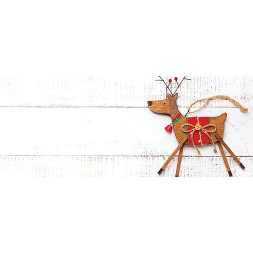 Wooden Reindeer Christmas Landscape PVC Party Sign Decoration 60cm x 25cm Product Image