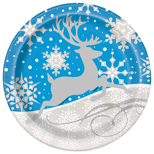 Christmas Silver Snowflake Round Paper Plates 22cm - Pack of 8 Product Image