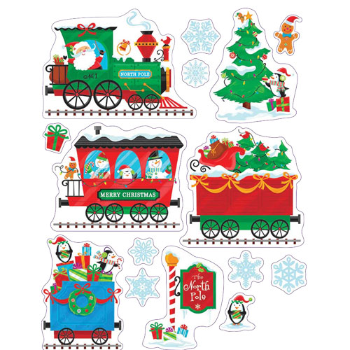 Christmas Trains With Presents Window Clings Decorations 43cm