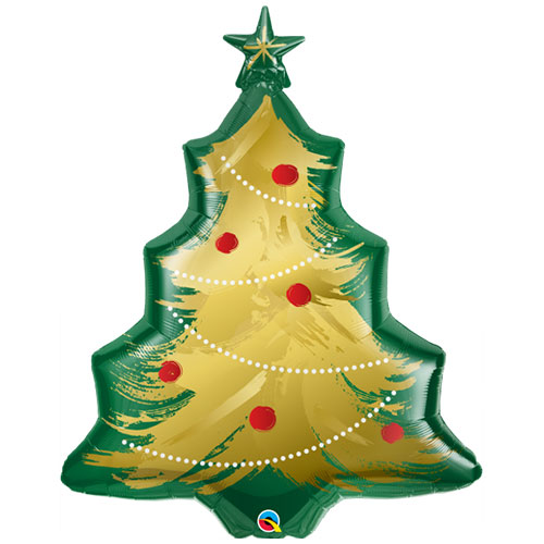 Christmas Tree Brushed Gold Helium Foil Giant Qualatex Balloon 102cm / 40 in Product Image