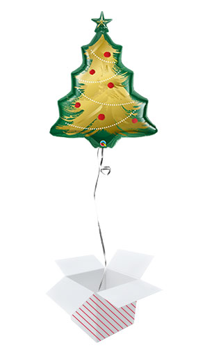 Christmas Tree Brushed Gold Helium Foil Giant Qualatex Balloon - Inflated Balloon in a Box Product Image