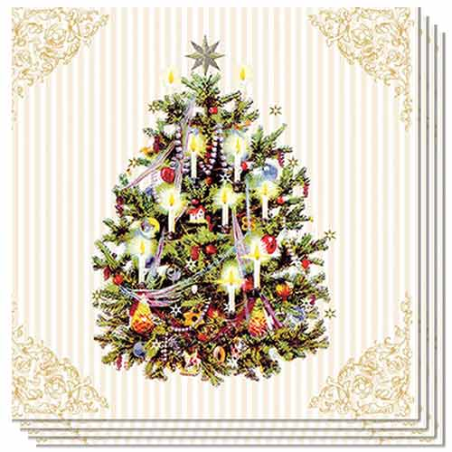 Christmas Tree Cream Luncheon Napkins 3Ply 33cm - Pack of 50 Product Image