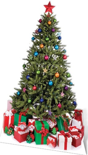 Christmas Tree With Gifts Lifesize Cardboard Cutout 180cm