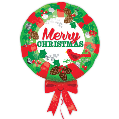 Christmas Wreath Helium Foil Giant Balloon 71cm / 28 in Product Image