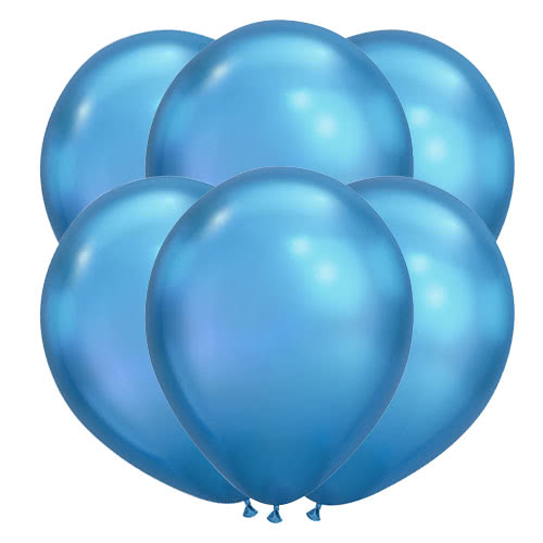 Chrome Blue Latex Helium Qualatex Balloons 28cm / 11Inch - Pack of 100 Product Image