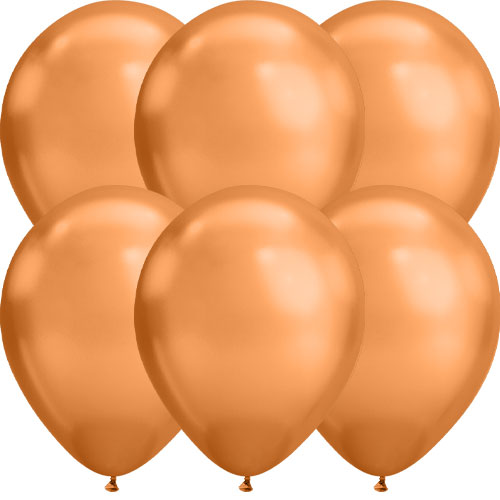 Chrome Copper Round Latex Qualatex Balloons 18cm / 7 in - Pack of 10