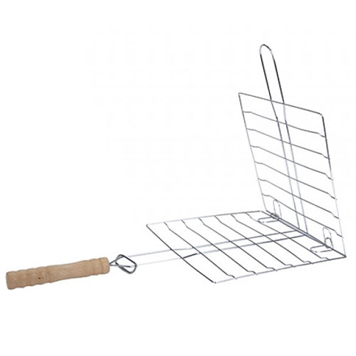 Chrome Plated BBQ Grill with Wooden Handle Product Image