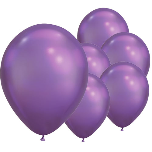 Chrome Purple Round Latex Qualatex Balloons 18cm / 7 Inch - Pack of 100 Product Image