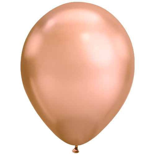Chrome Rose Gold Round Latex Helium Qualatex Balloon 28cm / 11 in Product Image