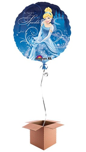 Cinderella Round Foil Balloon - Inflated Balloon in a Box