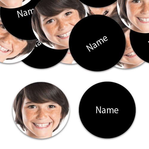 CIRCLE Shape - Black Personalised Confetti - Pack of 50