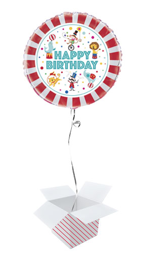 Circus Carnival Happy Birthday Round Foil Helium Balloon - Inflated Balloon in a Box Product Image
