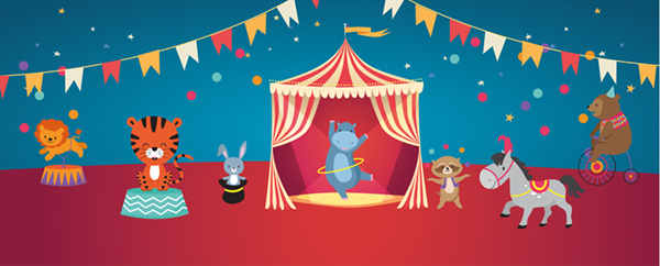 Circus Party Design Medium Personalised Banner - 6ft x 2.25ft