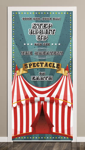 Circus Tent Green Door Cover PVC Party Sign Decoration 66cm x 152cm Product Image