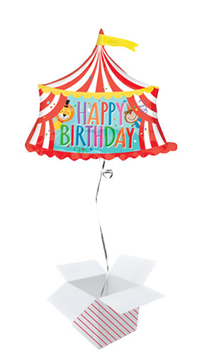 Circus Tent Happy Birthday Helium Foil Giant Balloon - Inflated Balloon in a Box Product Image