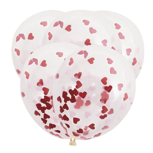 Valentines Clear Biodegradable Latex Balloons With Heart Shaped Tissue Confetti - Pack of 5 Product Image