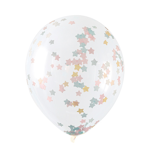 Clear Biodegradable Latex Balloons With Pink Blue & Gold Tissue Confetti - Pack of 5 Product Image