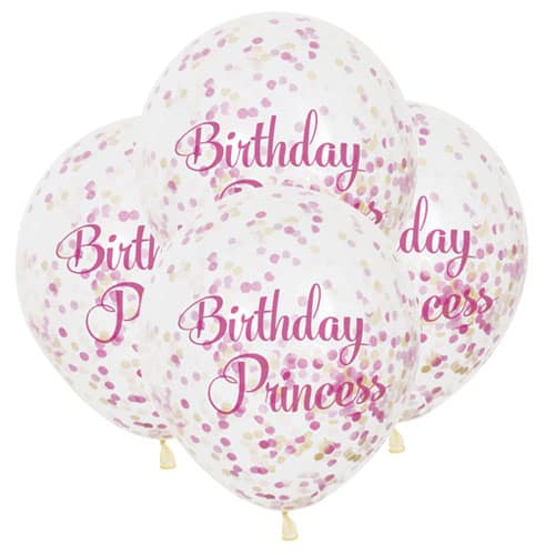 Clear Birthday Princess Biodegradable Latex Balloon With Confetti Inside 30cm Pack of 6 Product Image