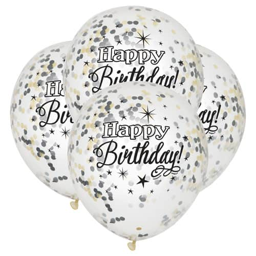 Clear Happy Birthday Biodegradable Latex Balloon With Black And Gold Confetti Inside 30cm Pack of 6 Product Image