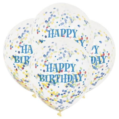 Clear Blue Happy Birthday Biodegradable Latex Balloons With Multi Colour Confetti Inside 30cm - Pack of 6 Product Image