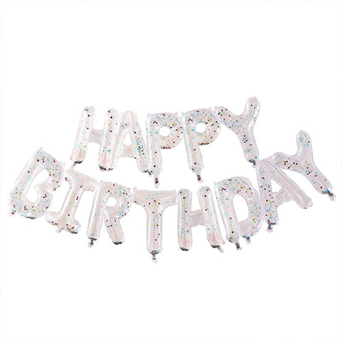 Clear HAPPY BIRTHDAY With Multi Colour Confetti Air Fill Foil Letter Balloon Kit Product Image