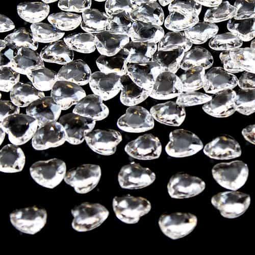 Clear 12mm Heart Diamonds Premium Table Gems 28g