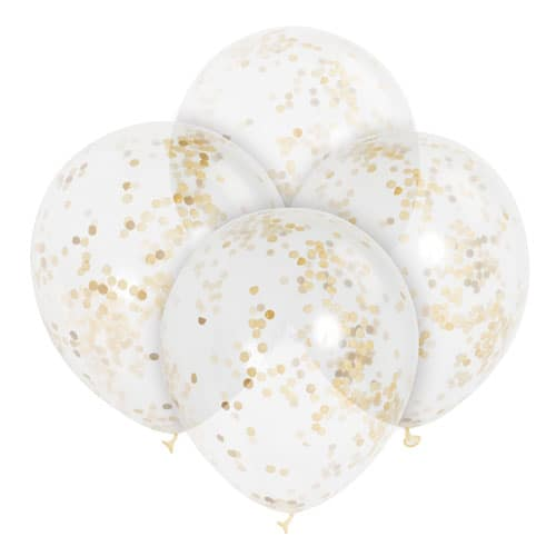 Clear Biodegradable Latex Balloons With Gold Confetti Inside – 30cm – Pack of 6 Bundle Product Image