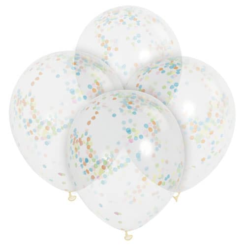 Clear Biodegradable Latex Balloons With Multi Colour Confetti Inside 30cm Pack of 6 Product Image