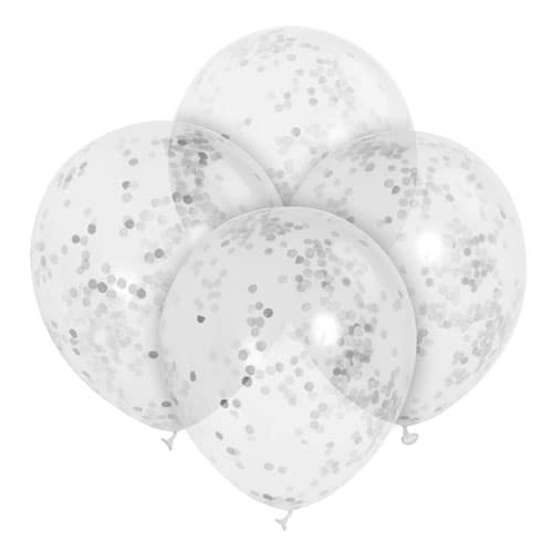 Clear Biodegradable Latex Balloons With Silver Confetti Inside - 30cm - Pack of 6 Product Image