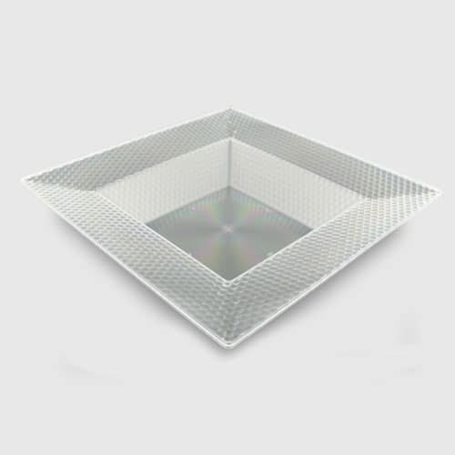 Clear Plastic Square Bowl With Hexagon Designs - 21cm
