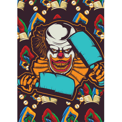 Clown with Blue Cleavers Halloween A3 Poster PVC Party Sign Decoration 42cm x 30cm Product Gallery Image